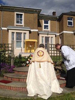 Adoration of the Blessed Sacrament in the garden