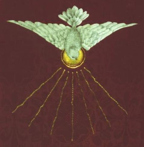 Detail of the dove on an altar frontal for Pentecost