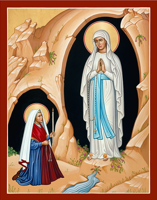 Icon of Our Lady of Lourdes and St Bernadette