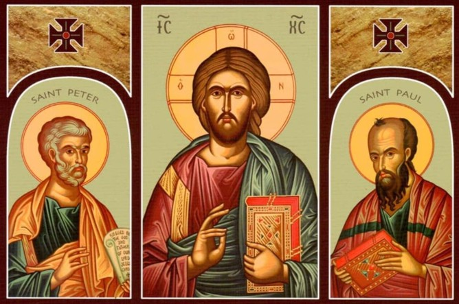 Triptych of Christ with SS. Peter and Paul