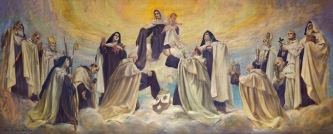 American painting depicting the holy men and women of Carmel