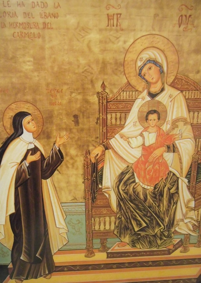 Icon of Our Blessed Lady, the Child Jesus and St Teresa of Jesus